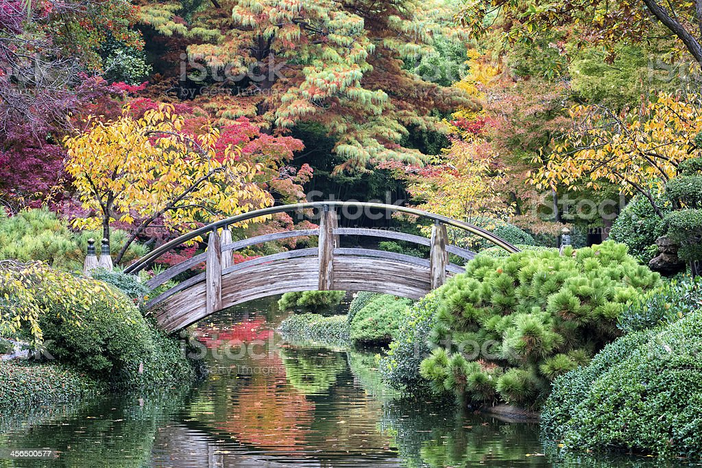 Bridge Over Autumn-tinged Waters stock photo