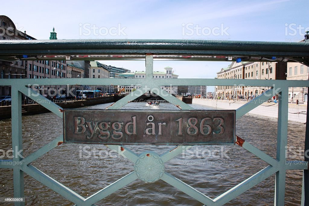 Bridge over Big Harbor Canal under blue sky in Gothenburg stock photo
