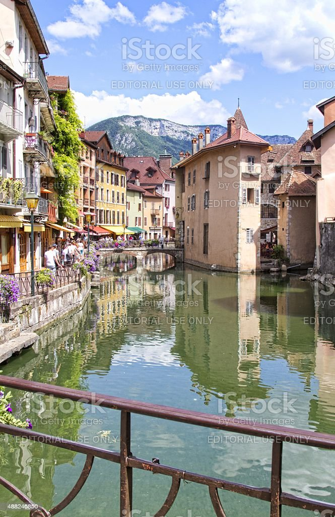 bridge over canal at Annecy  France. stock photo