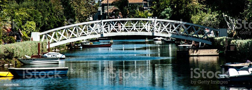 bridge over canal stock photo
