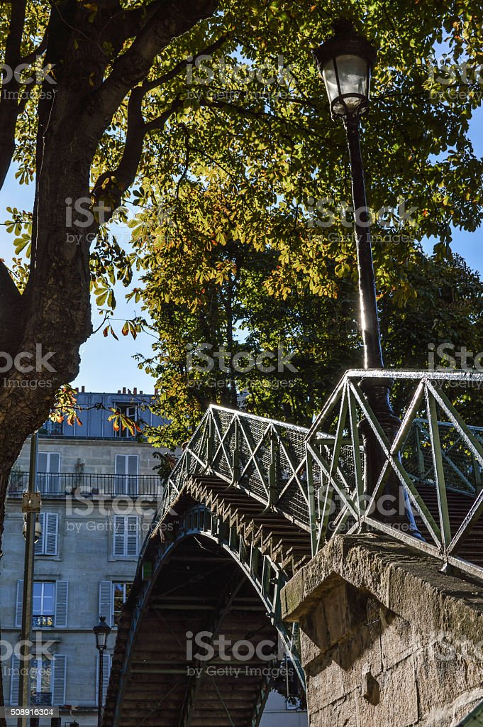 bridge over canal Saint-Martin in Paris stock photo
