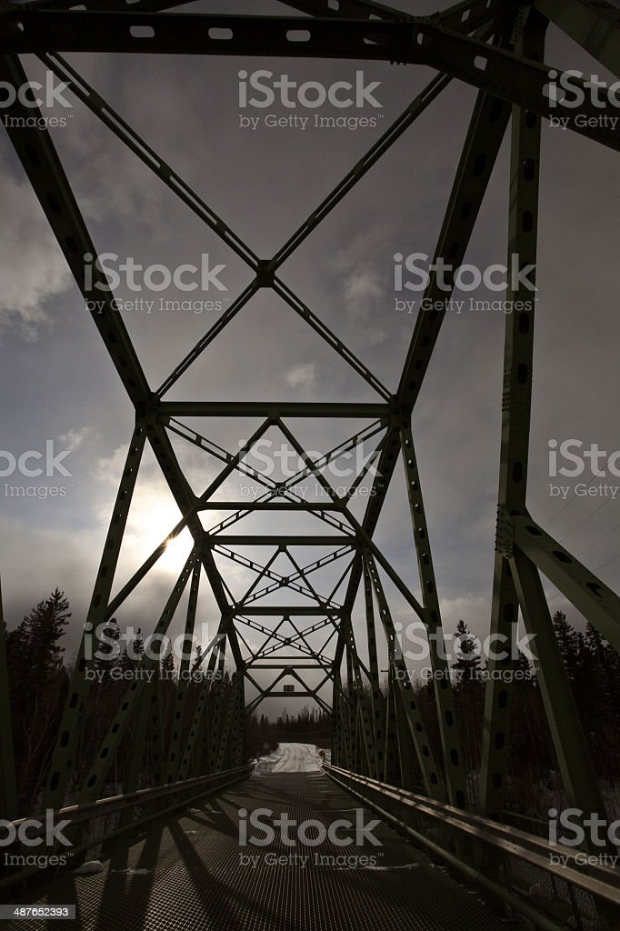 Bridge over Churchill River at Otter Rapids stock photo