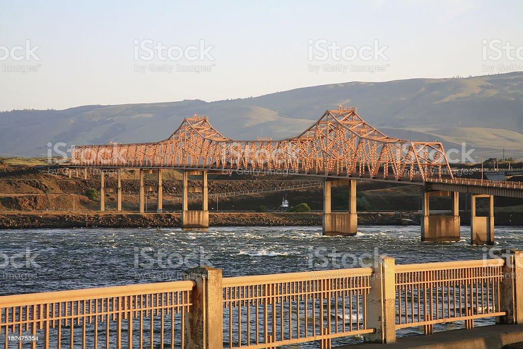 Bridge Over Columbia River Oregon stock photo