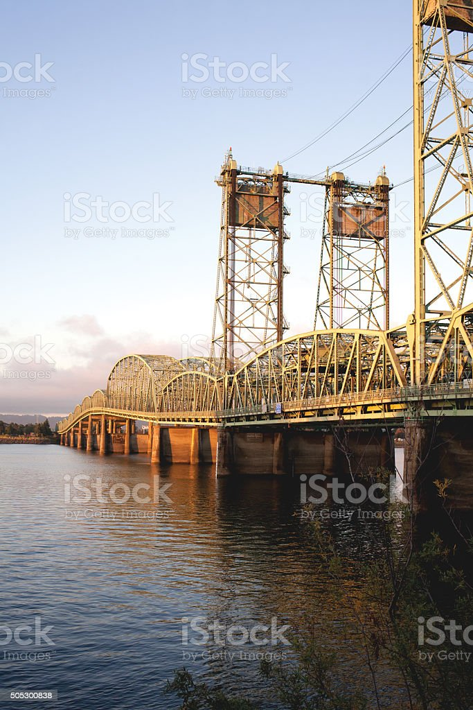 I5 bridge over Columbia river stock photo