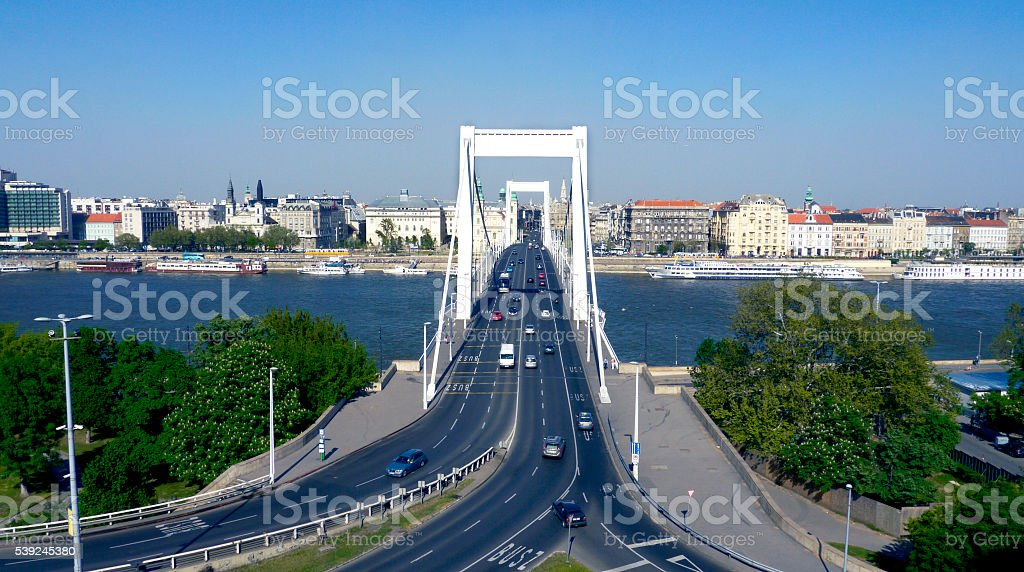 Bridge over Danube river stock photo