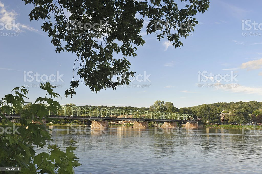Bridge over Delaware River stock photo