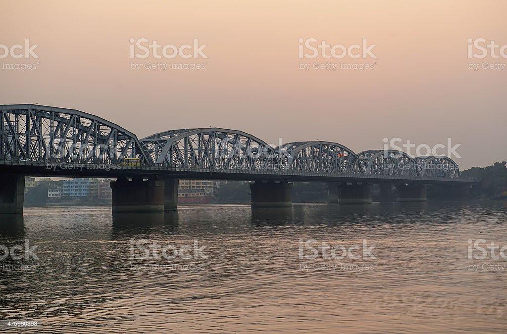 Bridge over Ganga at sunset stock photo