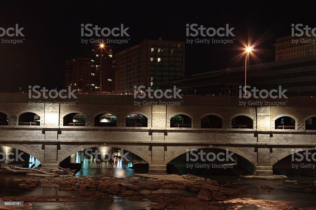 Bridge over Genesee river stock photo