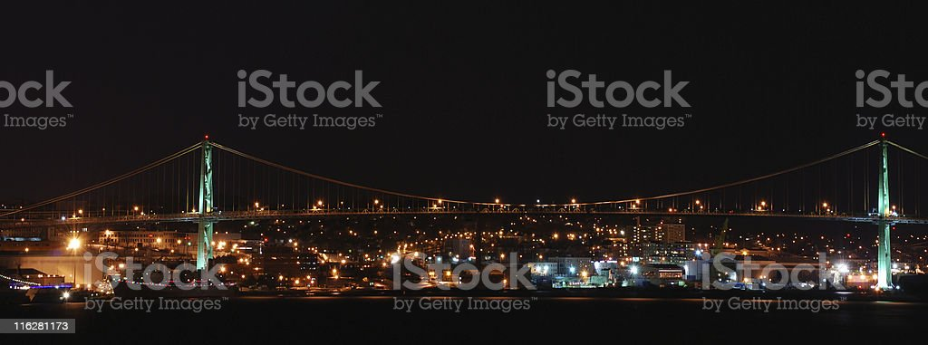 Bridge Over Halifax Harbour at Night stock photo