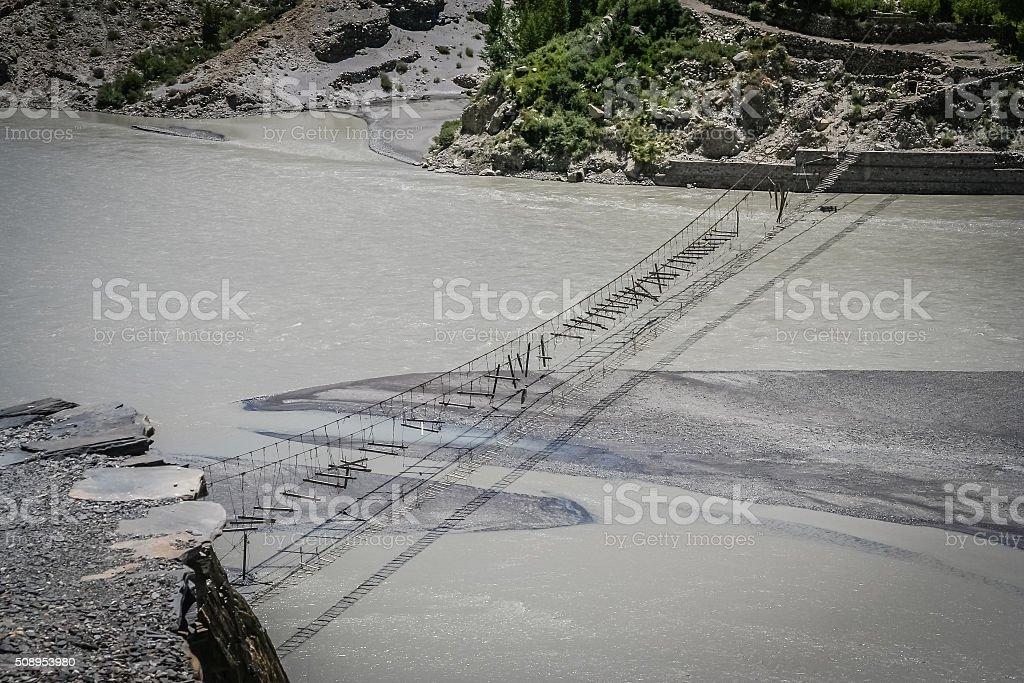 Bridge Over Hunza stock photo