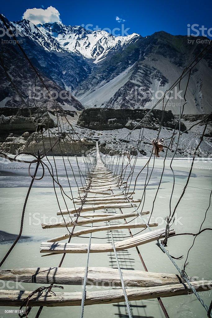 Bridge Over Hunza River stock photo