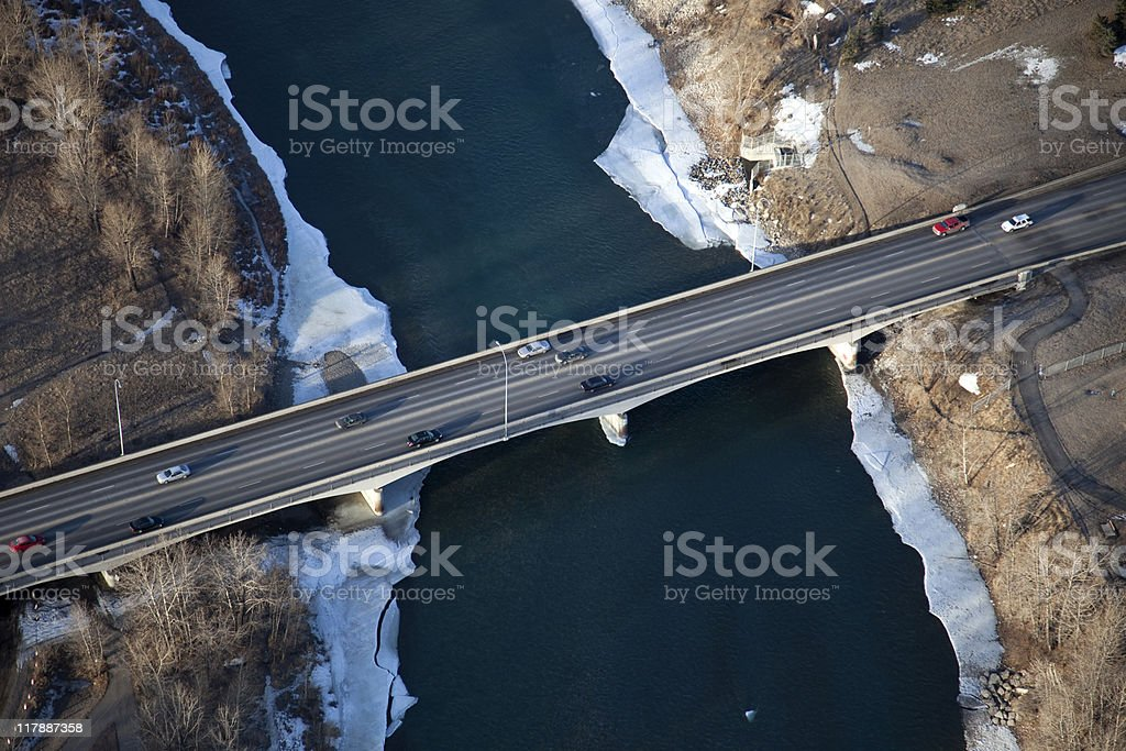 Bridge over Icy River royalty-free stock photo
