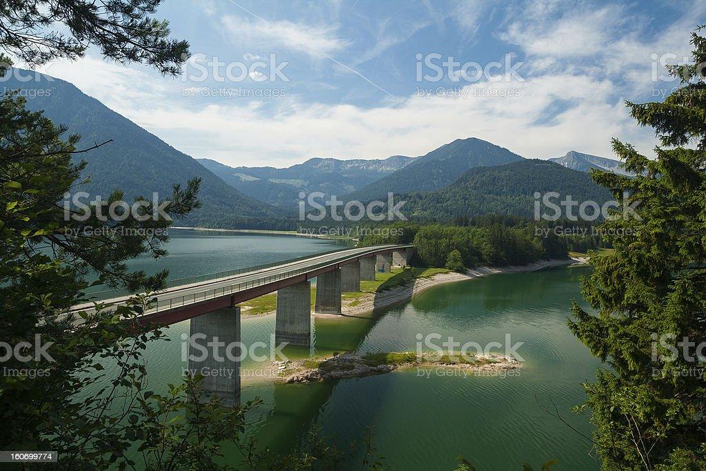Bridge over Lake Sylvensteinsee royalty-free stock photo