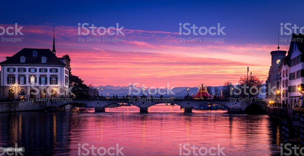 Bridge over Limmat River stock photo
