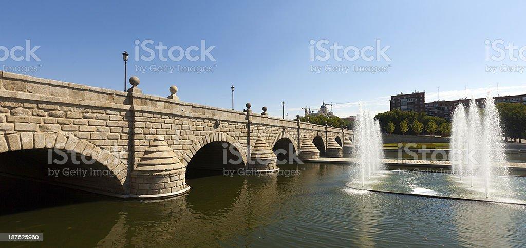 bridge over Manzanares in sunny day. Madrid stock photo