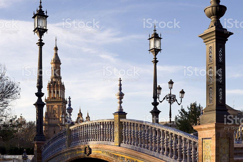 Bridge over moat .Plaza De Espana. Seville royalty-free stock photo