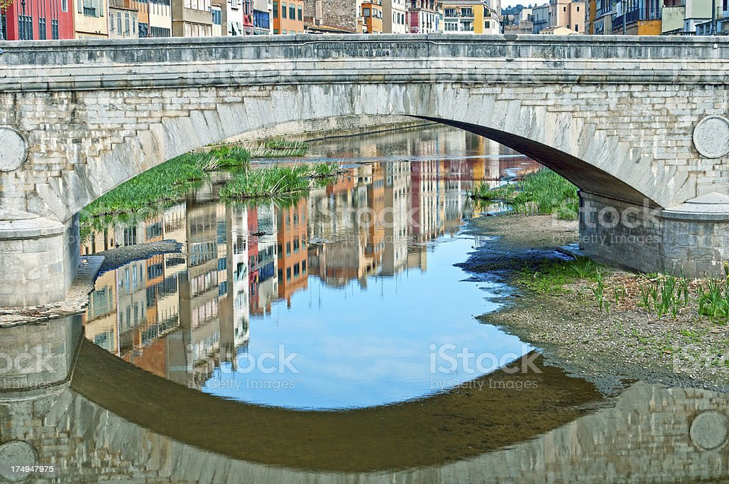 Bridge over Onyar River in oldest part of Girona royalty-free stock photo