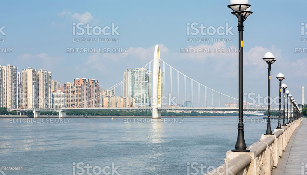 Bridge over Pearl River, Guangd stock photo