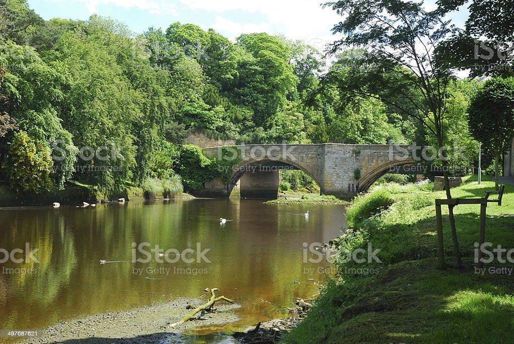 bridge over river Coquet at Warkworth stock photo
