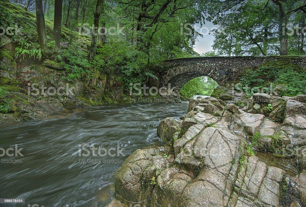 Bridge over River Esk at Dalegarth in the Lake District stock photo
