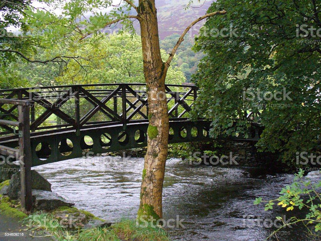 Bridge Over River Rothay in Grasmere, England stock photo