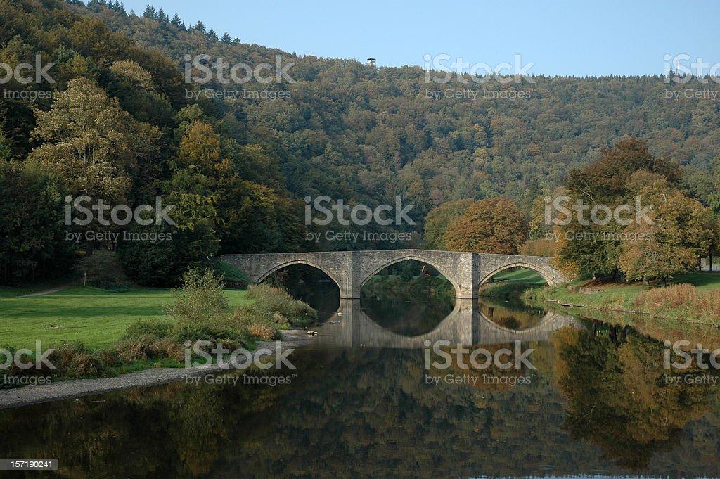 Bridge over river Semois Belgian Ardennes Belgium royalty-free stock photo