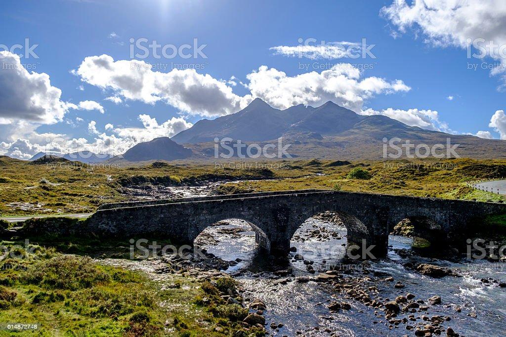 Bridge over River Sligachan stock photo