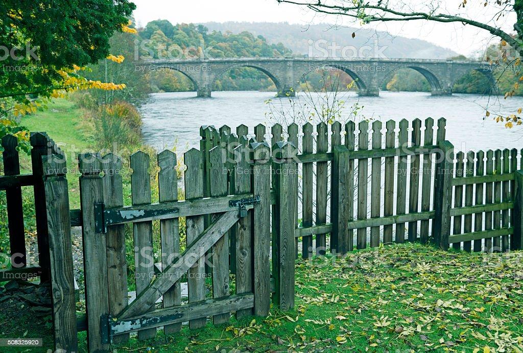 Bridge over River Tay in Dunkeld Scotland stock photo