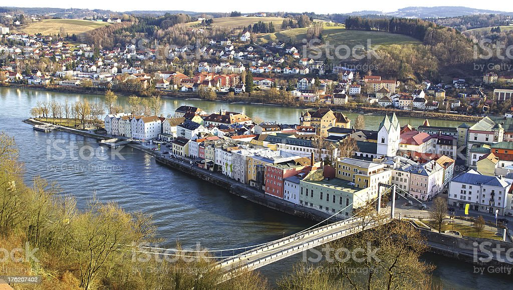 Bridge over river to a picturesque island town stock photo