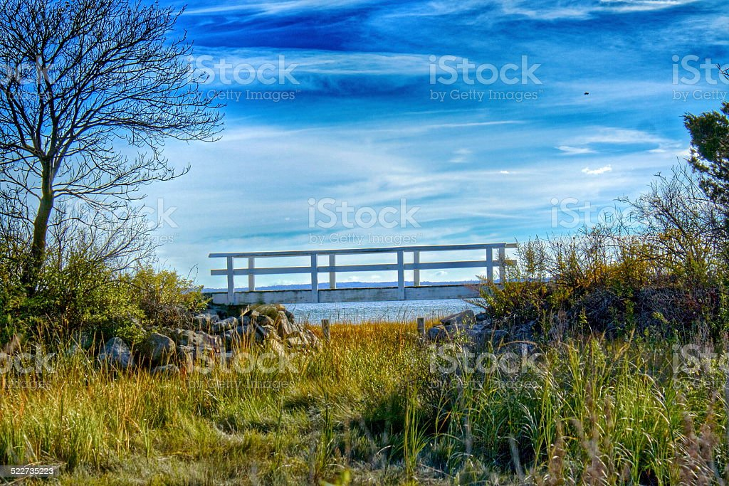 Bridge over Salt Water Marsh stock photo