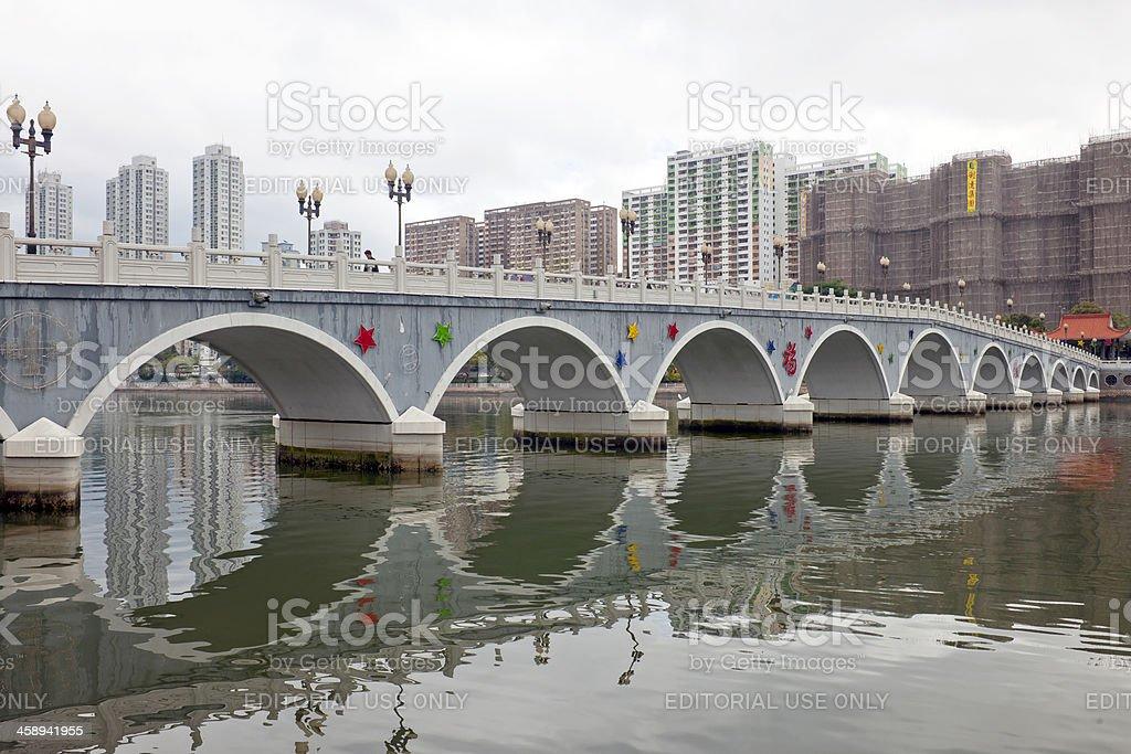 Bridge over Shing Mun River in Sha Tin royalty-free stock photo