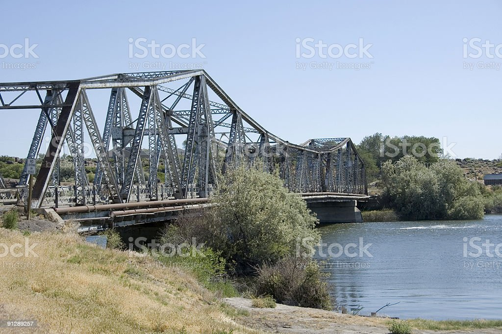 Bridge over Snake River stock photo