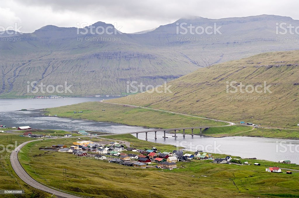 Bridge over sound, Faroe Islands stock photo