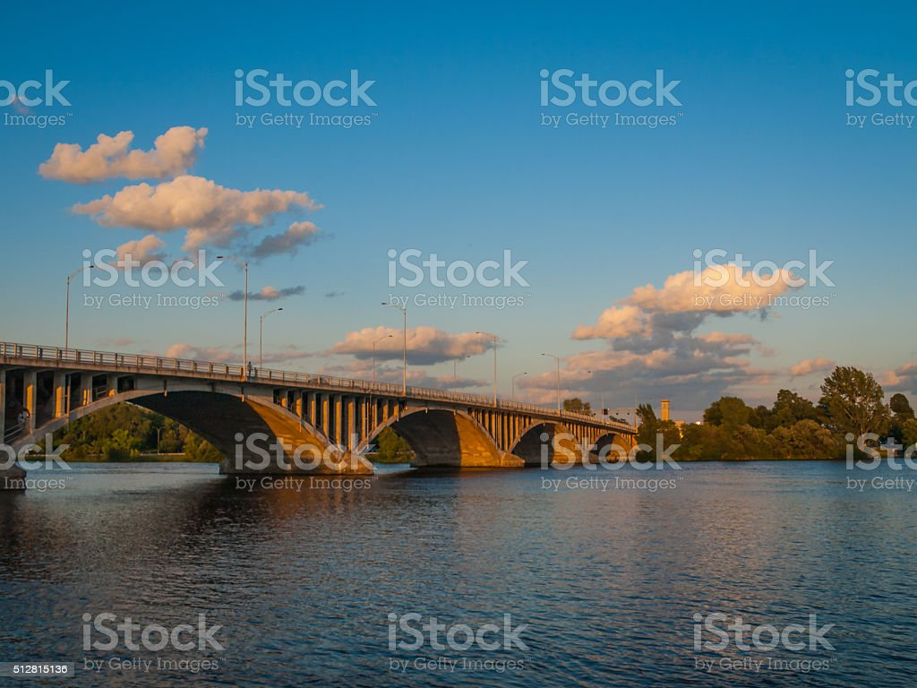 Bridge over St Lawrence River stock photo