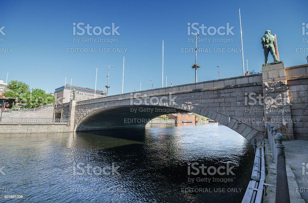 Bridge over Tammerkoski river in Tampere, Finland. stock photo