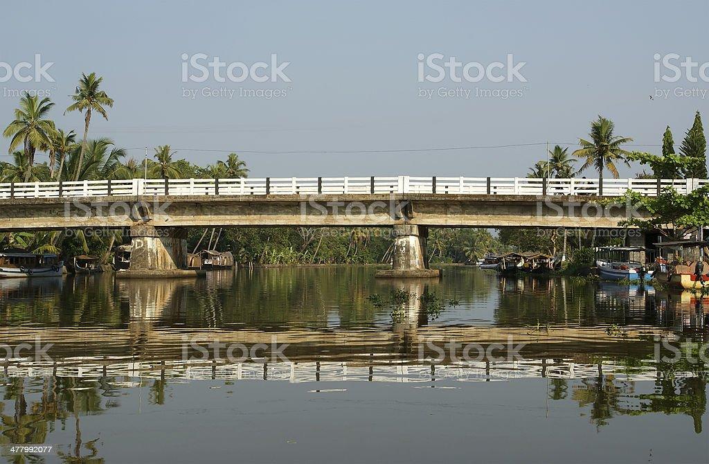 Bridge over the backwaters, Kerala, South India royalty-free stock photo