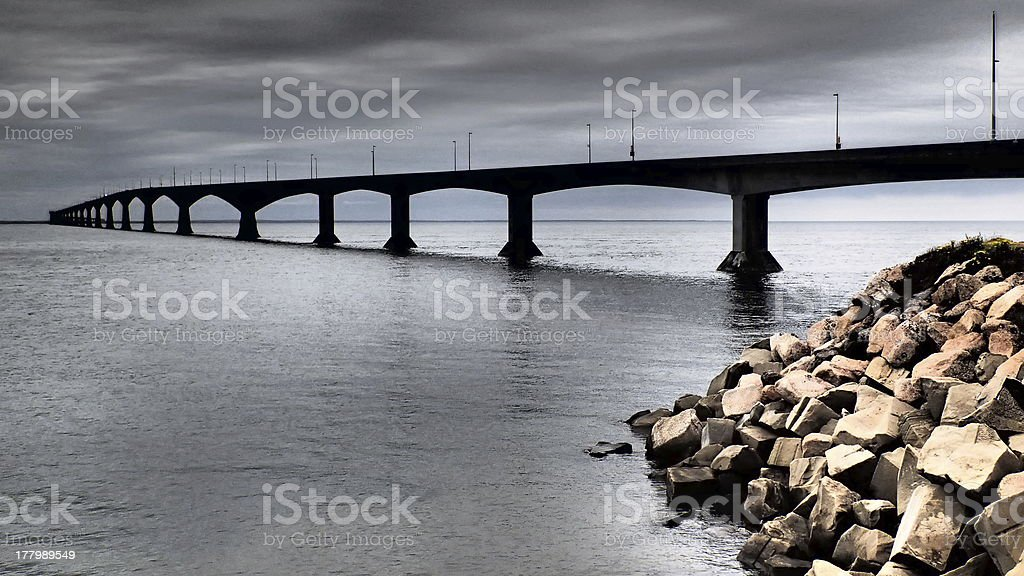 Bridge over the Bay of Fundy, Canada royalty-free stock photo