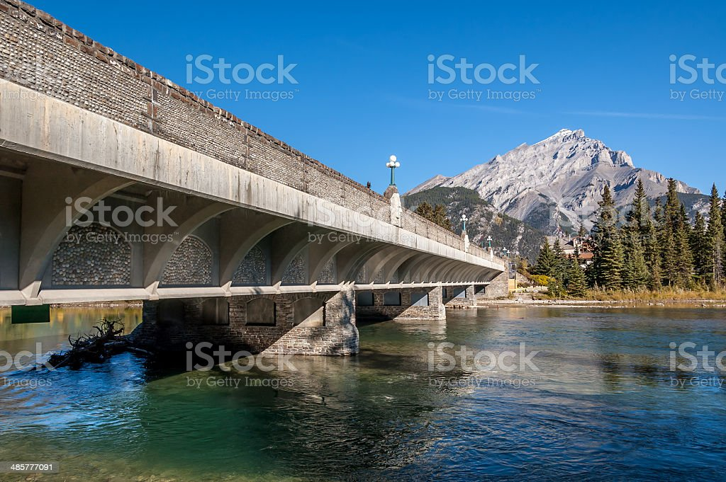 Bridge over the Bow River stock photo
