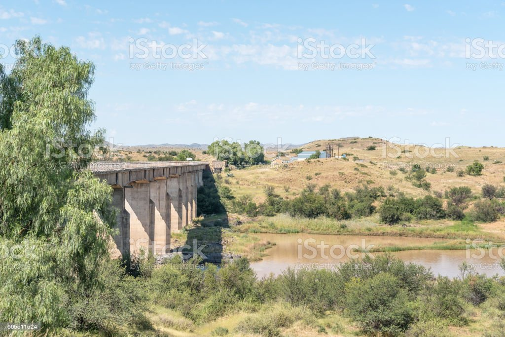 Bridge over the Gariep River between Philippolis and Colesberg stock photo
