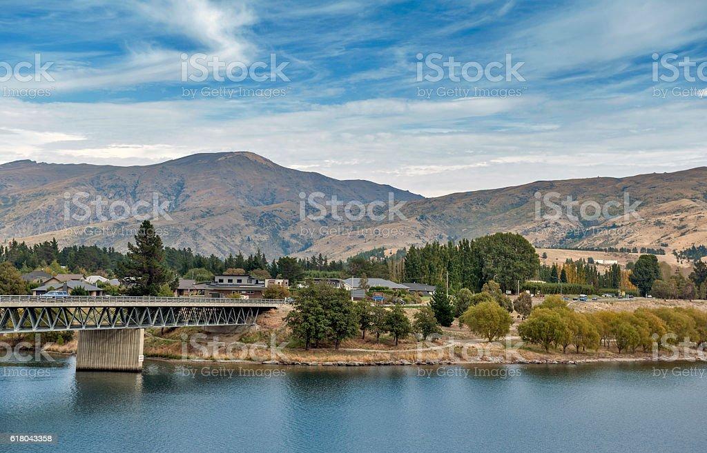 Bridge over the Kawarau River and Lake Dunstan, Cromwell stock photo