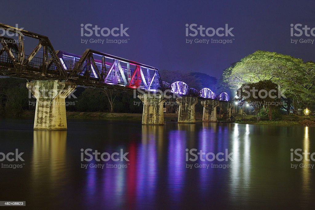 Bridge over the Kwai river at night royalty-free stock photo