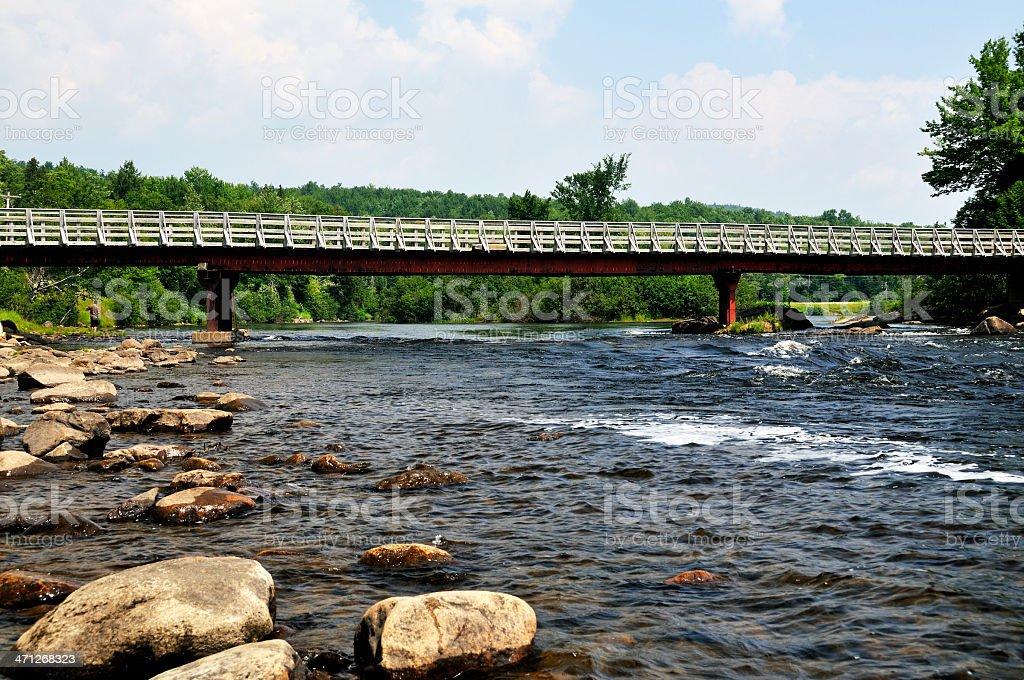 Bridge Over the Mighty Androscoggin River stock photo