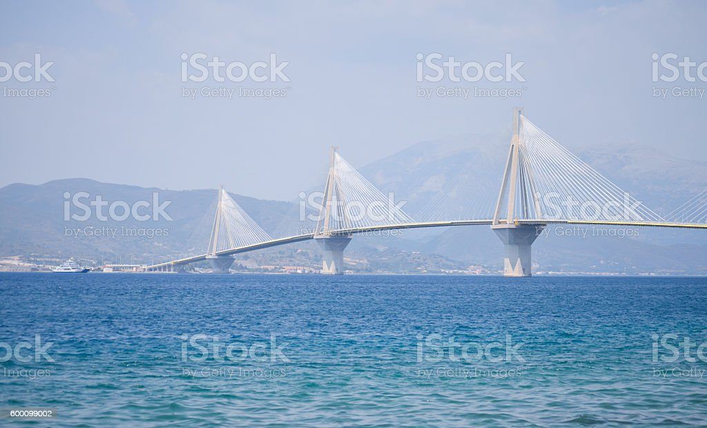 bridge over the ocean , transportation route. stock photo
