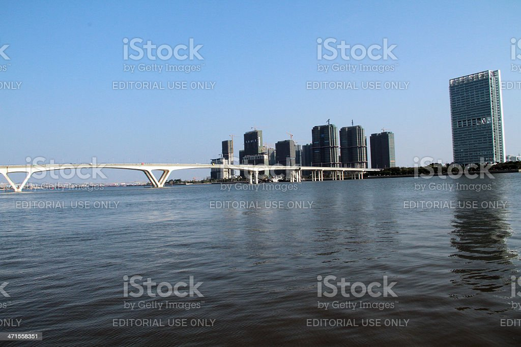 Ponte sul Fiume delle Perle, Guangzhou foto stock royalty-free