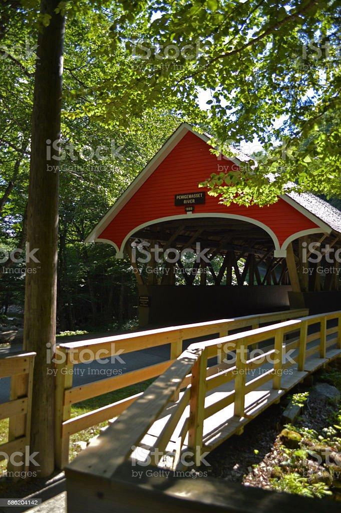 Bridge over the Pemigewasset stock photo