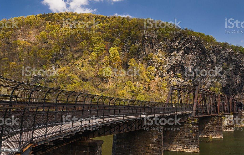 Bridge over the Potomac River in Harper's Ferry, West Virginia. stock photo