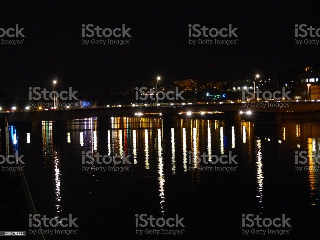 Bridge over the Rhone in Lyon at Night stock photo