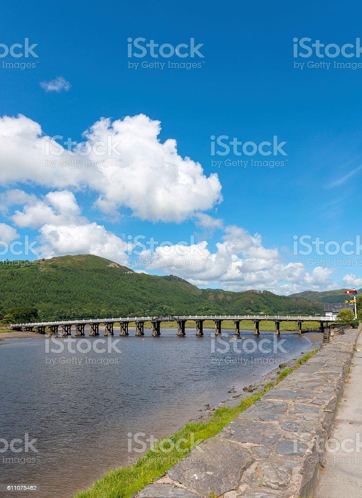 Bridge over the river Afon Mawddach at Penmaenpool stock photo
