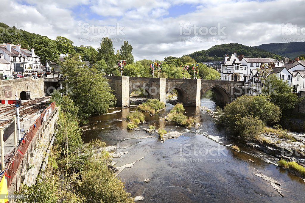 Bridge over the River Dee a in Llangollen, Wales stock photo