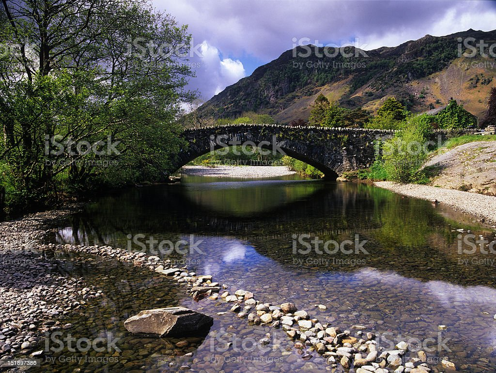 Bridge over the river Derwent, Grange in Borrowdale royalty-free stock photo
